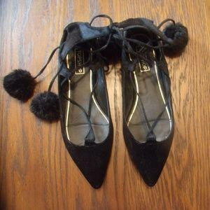 Top Shop Black Velvet Pom Pom Ankle Lace Up Flats